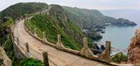 The famous view of La Coupee on the island of Sark