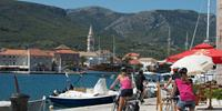Cycling into the town of Jelsa on the island of Hvar