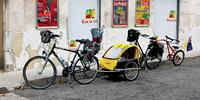 All the options for kids: child seat, trailer and the trail-a-bike