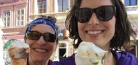 trekkers enjoy ice cream on hiking trip in romania with utracks travel