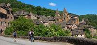 Walking through Conques on the Le Puy Way
