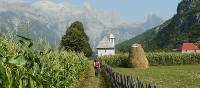 Walking towards the picturesque Church of Theth in Albania