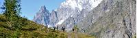 Group trekking along the Val Ferret balcony path |  <i>Ryan Graham</i>