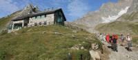 Group descending from Elisabetta refuge on the Italian side of Mont Blanc   Jac Lofts