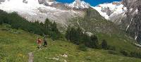 Trekkers take in the sublime mountain vista on the Swiss side of the Mont Blanc Circuit | Sue Badyari