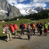 Families walking with donkeys beneath the lofty heights of Mont Blanc   Kate Baker