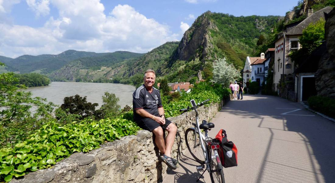 Cycling through Durnstein village along the Danube in the Wachau Valley
