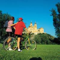 Cyclists at Melk Monastery