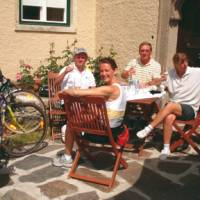 Cyclists enjoying wine tasting in the Wachau Valley, Austria   Kate Baker