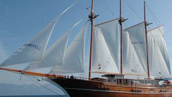Three masted sailing boat used on our bike and boat trips in Greece and Turkey
