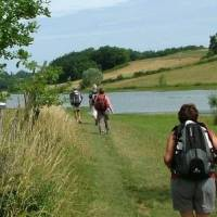 Hikers on the trail between Lectoure and Aire sur l'Adour