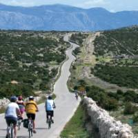 Cyclists on the island of Pag