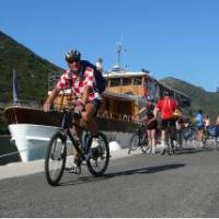 Cyclist setting off on his ride while on a Cycle & Sail trip in Croatia