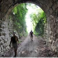 Walking through an old Parenzana Railway tunnel