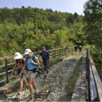 Hiking along the remains of the old Parenzana railway tracks