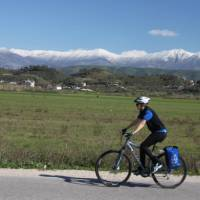 Cyclist on a quiet road in Albania