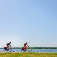 Cyclists on the Finland Coastal Route by Bike