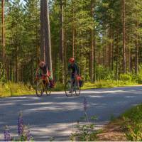 Quiet roads through woods are featured on the Finland Coastal Route Cycle
