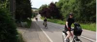 Cyclists on a quiet road between Metz and Frouard in the Lorraine region of France