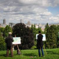 Artists in Buttes Chaumont park in Paris, France
