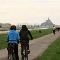 Cyclists and pedestrians en route to Mont St Michel   Kate Baker