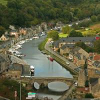 Canal running through the medieval town of Dinan in Brittany