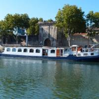 The L'Estello barge docked in Provence, France