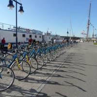 Bikes lined alongside the barge on our Berlin Bike & Barge trip