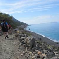 Walking along the Ag Roumeli coast on Crete