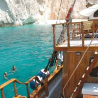 The tranquil blue waters of the Cyclades Islands