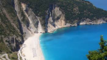 Myrtos beach on the island of Cephalonia, Greece