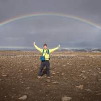 A beautiful rainbow on the Laugavegur Trail in Iceland