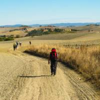 Pilgrims making their way towards Rome on the Via Francigena