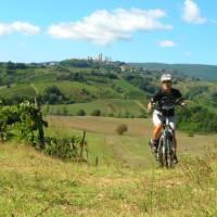 Cycling the Via Francigena near San Gimignano