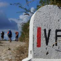 The road markers and other signs make it easier for self guided walkers on the Via Francigena