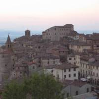 The hilltop town of Anghiari along the St Francis Way in western Tuscany