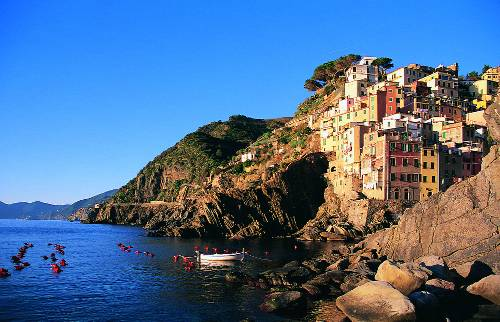 The colourful village of Riomaggiore in the CInque Terre