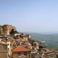 The hilltop town of Cammarata on the Magna Via Francigena in Sicily