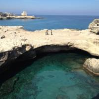 Half way along the coast between Lecce and Otranto, a magnificent rock pool connected to the sea | Kate Baker
