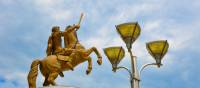 Visit Skopje, home to a 22-metre-high bronze statue of Alexander the Great