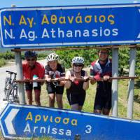 Cyclists having some fun on the ride to Meteora