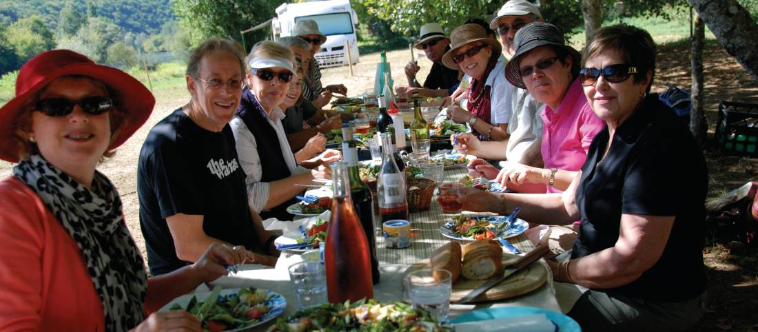 Group lunch in South West, France |  <i>Mary Moody</i>