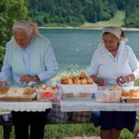 Polish ladies preparing a traditional lunch in a beautiful setting