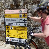 Self guided cyclist making her way on the Portuguese Camino tour from Porto to Santiago de Compostela | Pat Rochon
