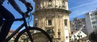 Cycling past the Church of the Pilgrim, Pontevedra | Pat Rochon