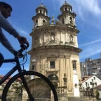 Cycling past the Church of the Pilgrim, Pontevedra | Pat Rochon