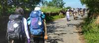 Pilgrims hiking through rural villages along the Camino Frances in Spain |  <i>Gesine Cheung</i>