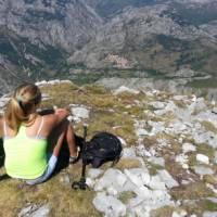 Looking back down towards the village in the Picos de Europa