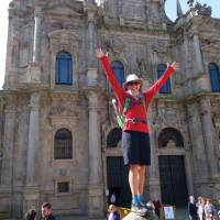 Arriving in the beautiful city of Santiago de Compostela after completing the Camino Trail   Edwina Parsons