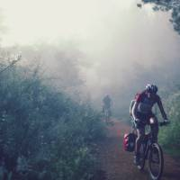Cycling through the morning mist along the Camino   @timcharody